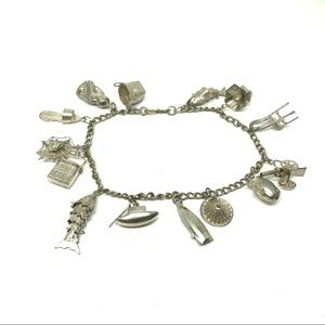 30s Art Deco Asian Charm Bracelet Sterling Silver